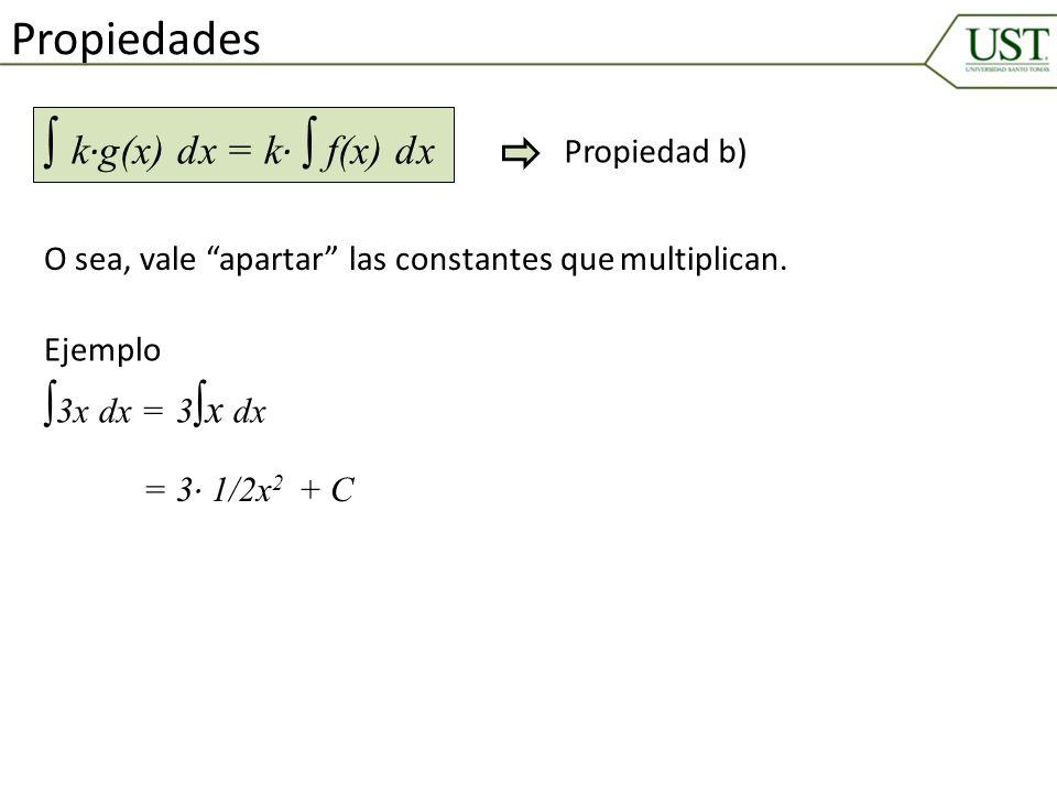 Propiedades k g(x) dx = k f(x) dx O sea, vale apartar las constantes que multiplican. 3x dx = Ejemplo 3 x dx = 3 1/2x 2 + C Propiedad b)