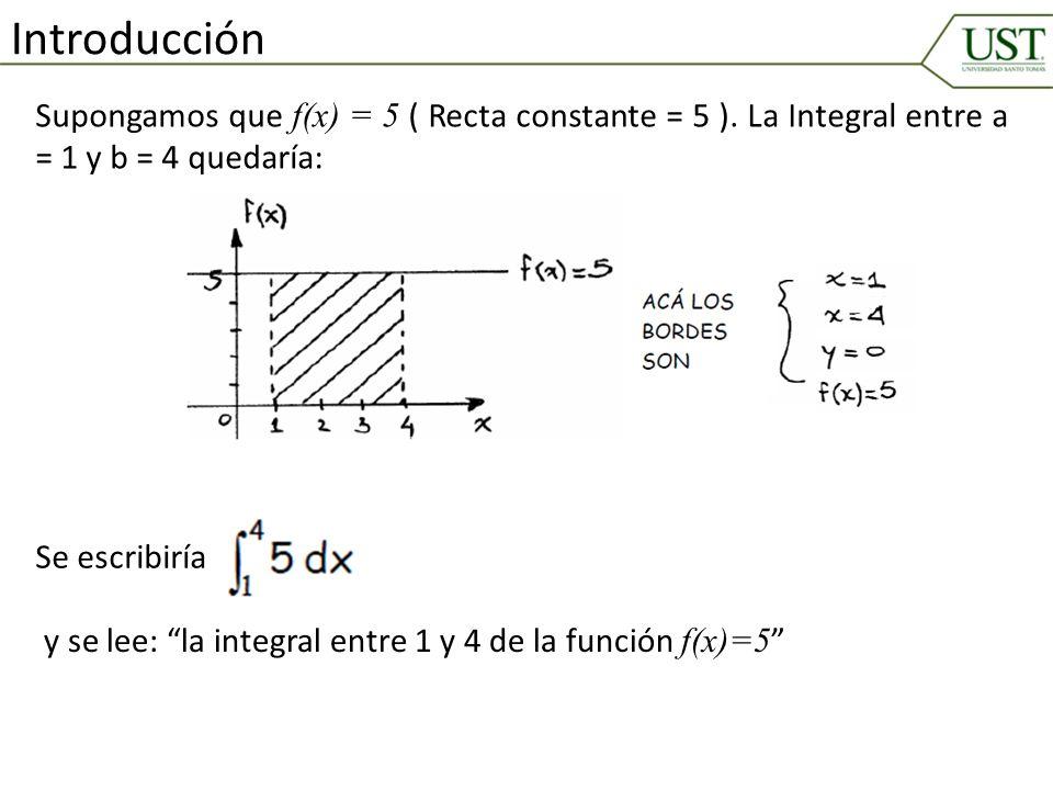 Supongamos que f(x) = 5 ( Recta constante = 5 ). La Integral entre a = 1 y b = 4 quedaría: Introducción Se escribiría y se lee: la integral entre 1 y