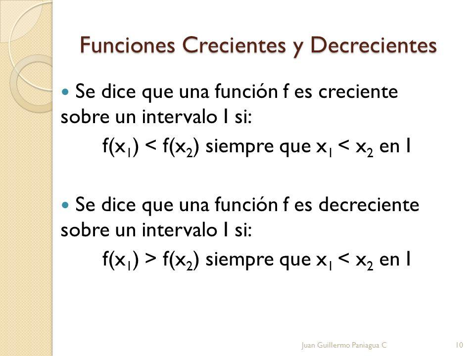 Funciones Crecientes y Decrecientes Se dice que una función f es creciente sobre un intervalo I si: f(x 1 ) < f(x 2 ) siempre que x 1 < x 2 en I Se di