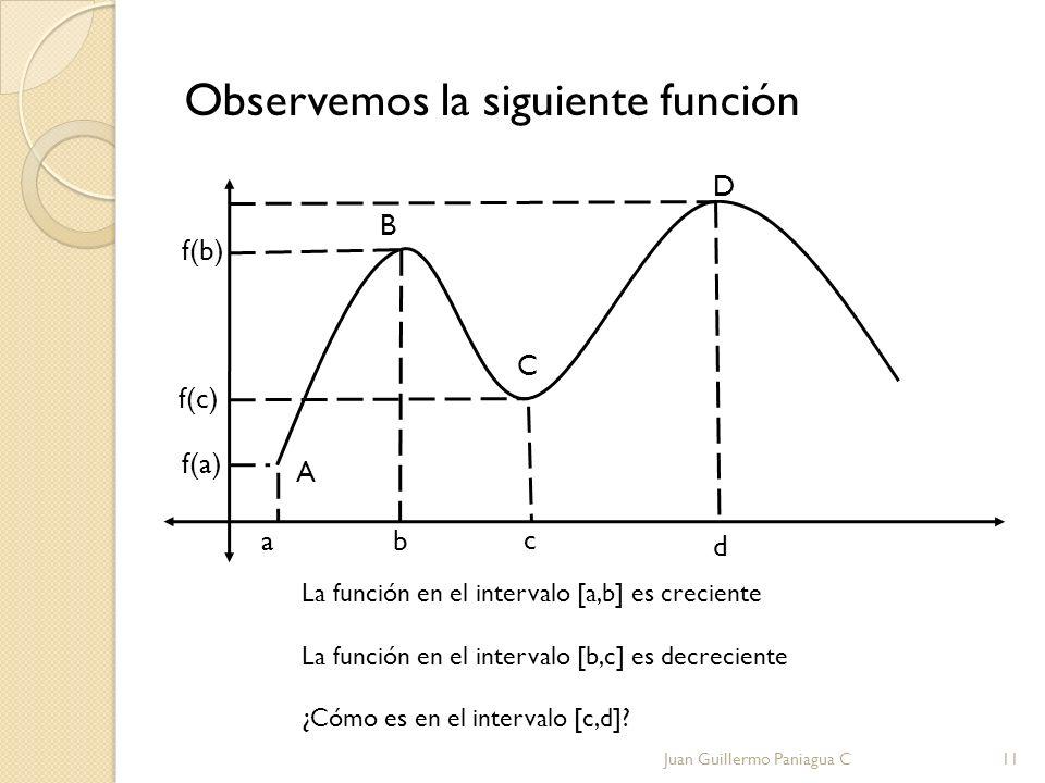 Observemos la siguiente función A B f(a) f(b) a b c C f(c) D La función en el intervalo [a,b] es creciente La función en el intervalo [b,c] es decreci