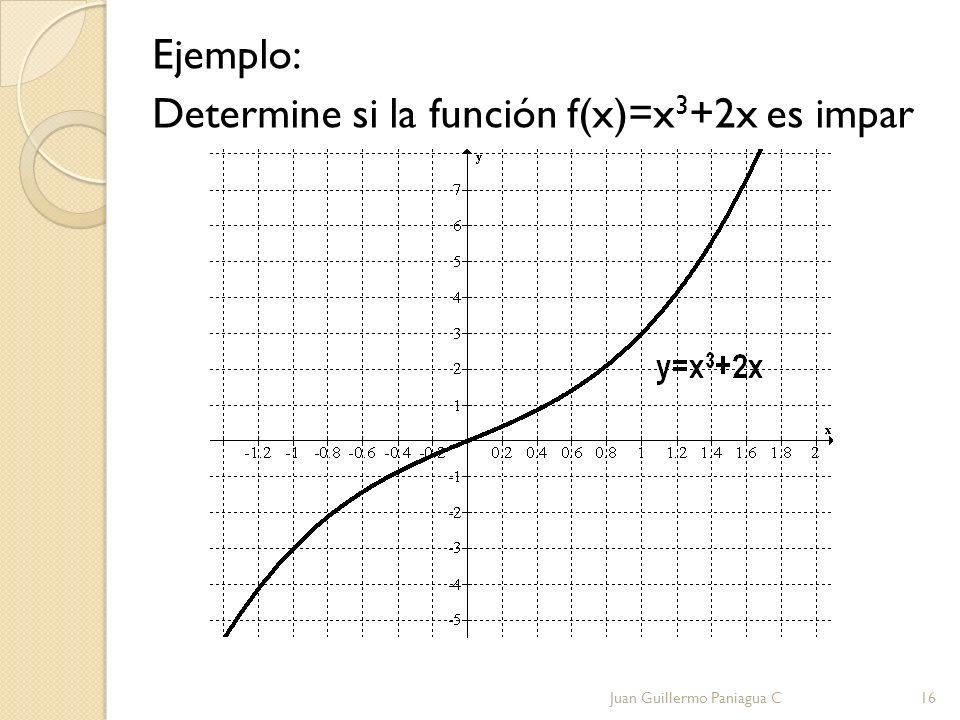 Ejemplo: Determine si la función f(x)=x 3 +2x es impar Juan Guillermo Paniagua C16