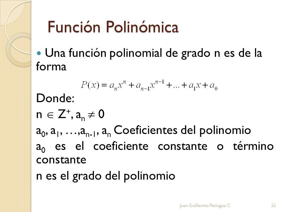Función Polinómica Una función polinomial de grado n es de la forma Donde: n Z +, a n 0 a 0, a 1, …,a n-1, a n Coeficientes del polinomio a 0 es el co