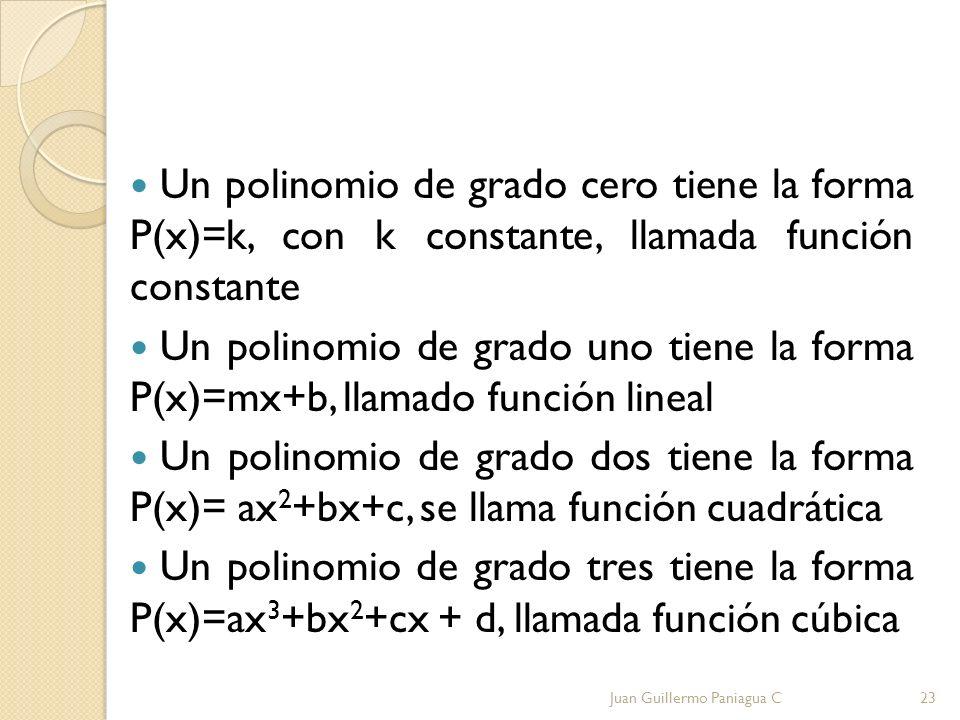 Un polinomio de grado cero tiene la forma P(x)=k, con k constante, llamada función constante Un polinomio de grado uno tiene la forma P(x)=mx+b, llama