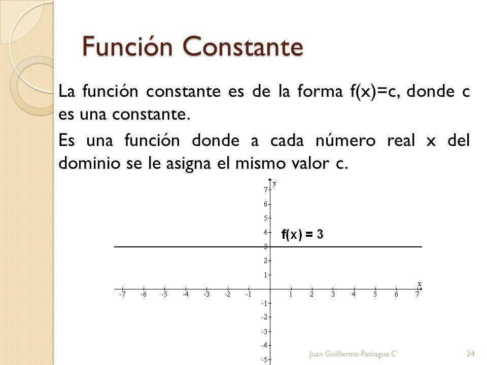 Función Constante La función constante es de la forma f(x)=c, donde c es una constante. Es una función donde a cada número real x del dominio se le as