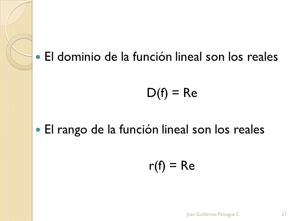 El dominio de la función lineal son los reales D(f) = Re El rango de la función lineal son los reales r(f) = Re Juan Guillermo Paniagua C27