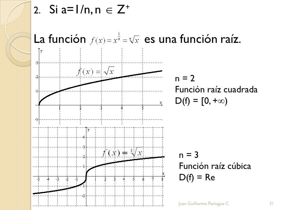 2. Si a=1/n, n Z + La función es una función raíz. Juan Guillermo Paniagua C31 n = 2 Función raíz cuadrada D(f) = [0, + ) n = 3 Función raíz cúbica D(