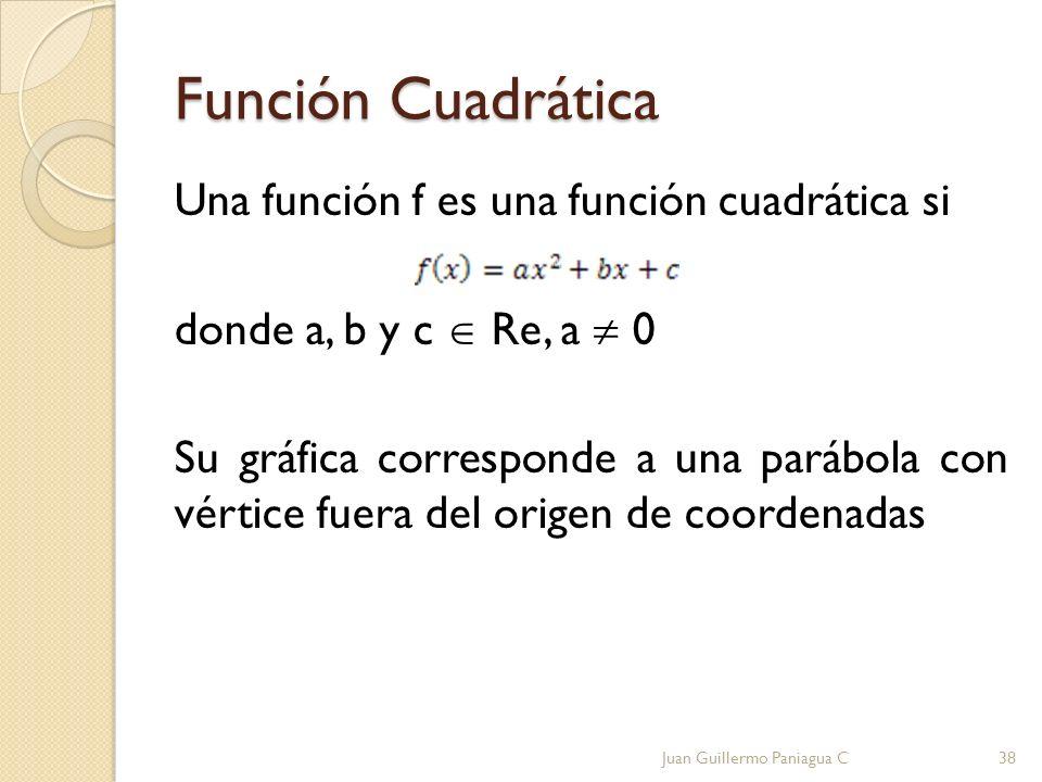 Función Cuadrática Una función f es una función cuadrática si donde a, b y c Re, a 0 Su gráfica corresponde a una parábola con vértice fuera del orige