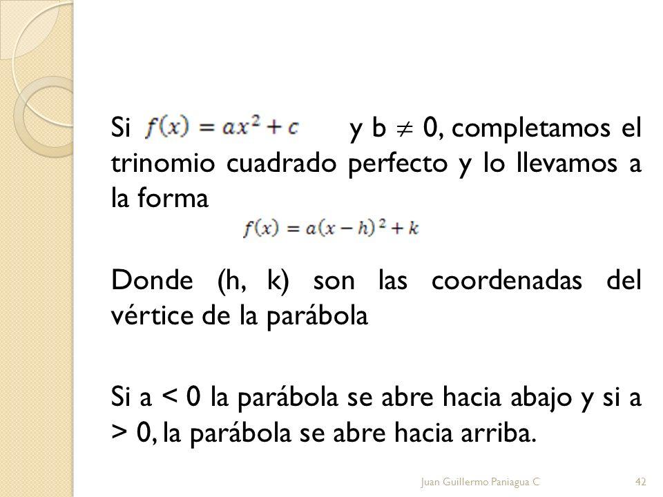 Si y b 0, completamos el trinomio cuadrado perfecto y lo llevamos a la forma Donde (h, k) son las coordenadas del vértice de la parábola Si a 0, la pa