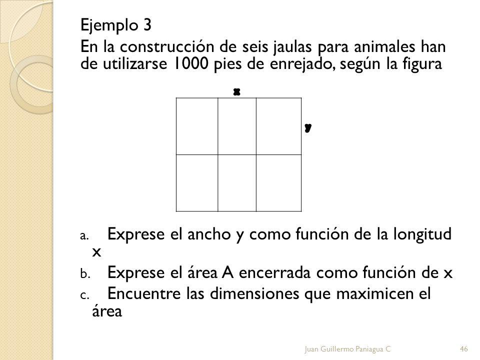 Ejemplo 3 En la construcción de seis jaulas para animales han de utilizarse 1000 pies de enrejado, según la figura a. Exprese el ancho y como función