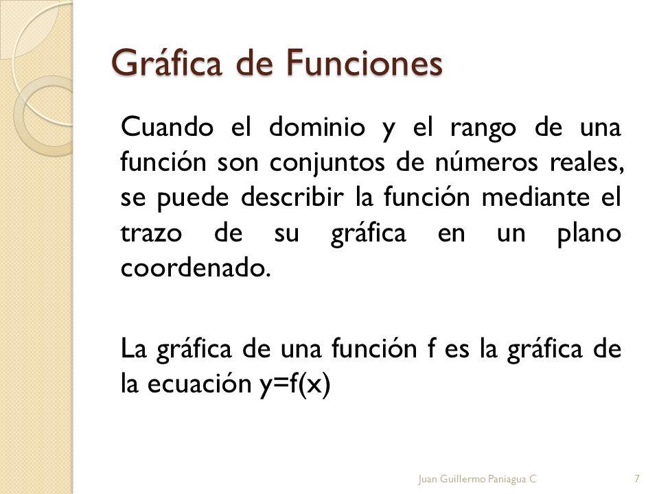 Gráfica de Funciones Cuando el dominio y el rango de una función son conjuntos de números reales, se puede describir la función mediante el trazo de s