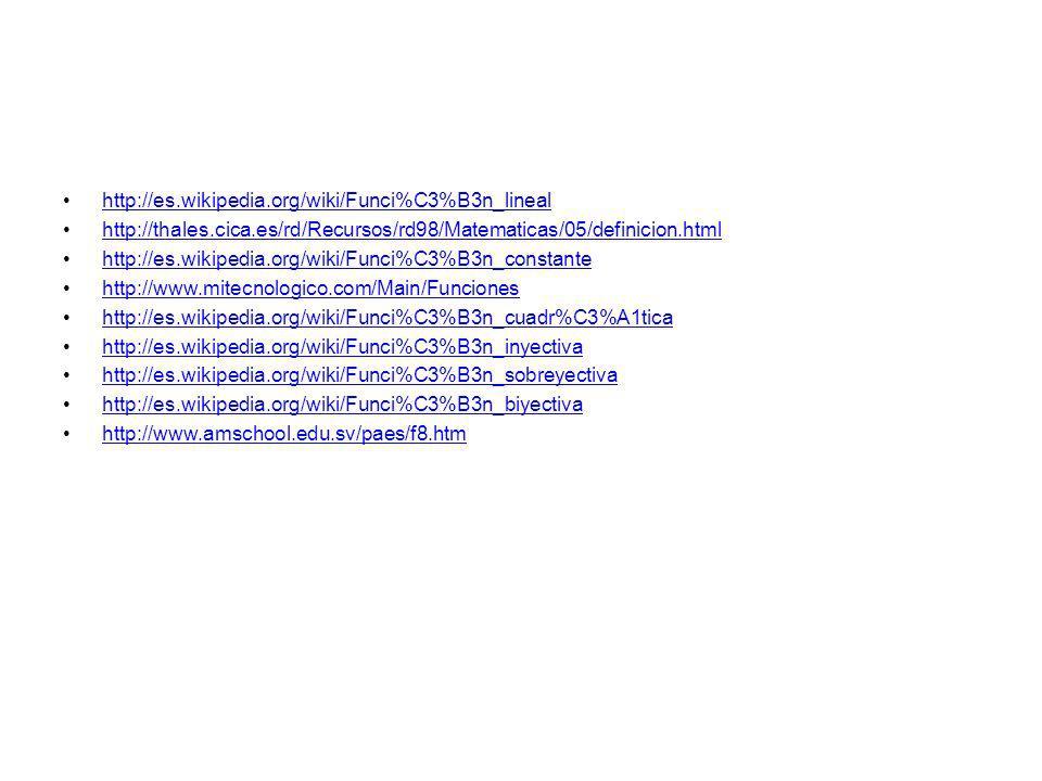http://es.wikipedia.org/wiki/Funci%C3%B3n_lineal http://thales.cica.es/rd/Recursos/rd98/Matematicas/05/definicion.html http://es.wikipedia.org/wiki/Fu