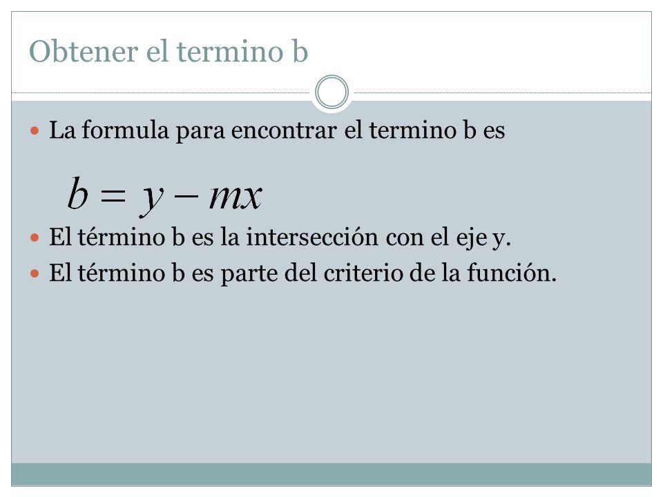 Obtener el termino b La formula para encontrar el termino b es El término b es la intersección con el eje y. El término b es parte del criterio de la