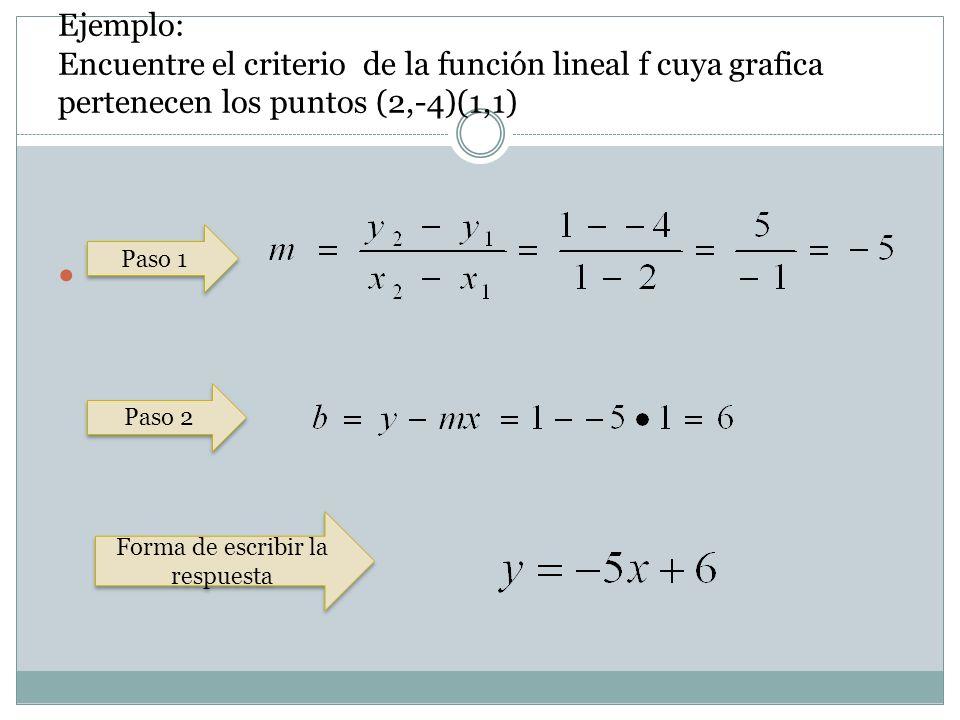 Forma de escribir la respuesta Paso 2 Paso 1 Ejemplo: Encuentre el criterio de la función lineal f cuya grafica pertenecen los puntos (2,-4)(1,1)