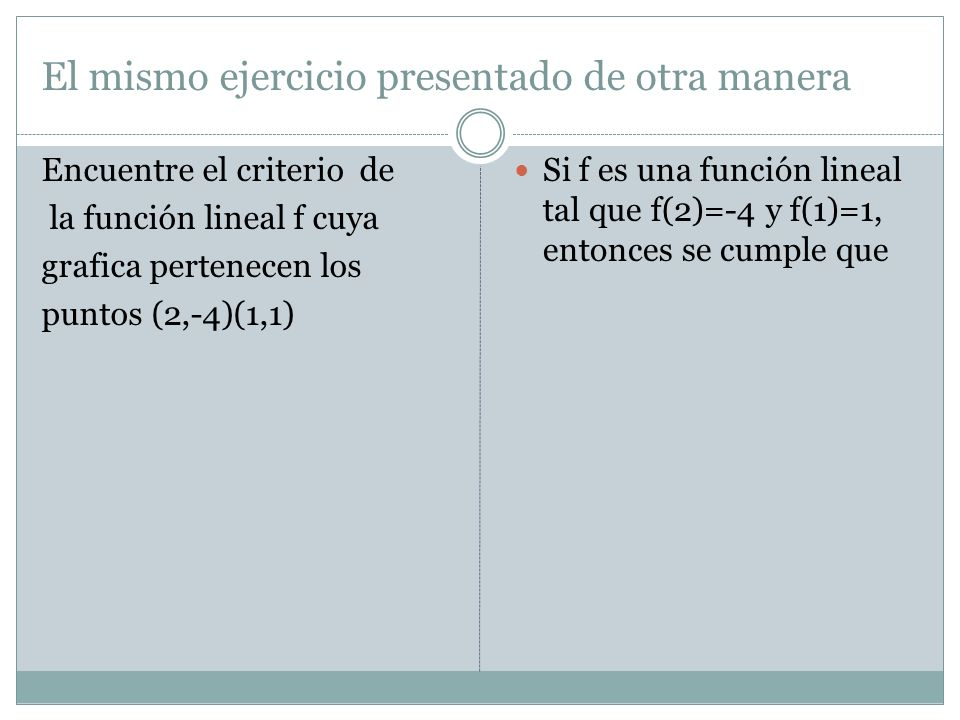 El mismo ejercicio presentado de otra manera Encuentre el criterio de la función lineal f cuya grafica pertenecen los puntos (2,-4)(1,1) Si f es una f