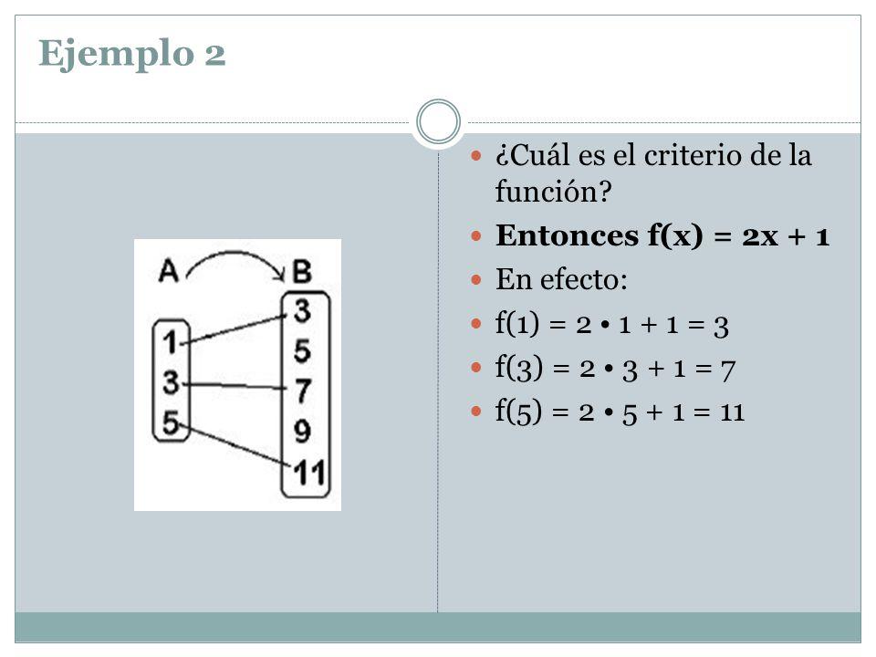 Ejemplo 2 ¿Cuál es el criterio de la función? Entonces f(x) = 2x + 1 En efecto: f(1) = 2 1 + 1 = 3 f(3) = 2 3 + 1 = 7 f(5) = 2 5 + 1 = 11