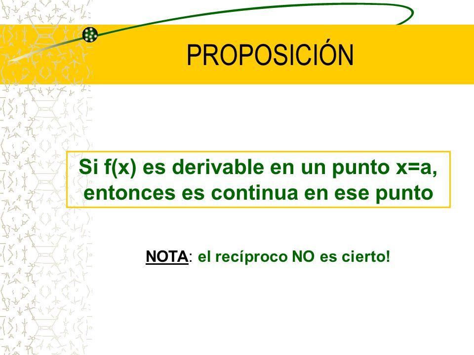 NO EXISTE DERIVADA (TANGENTE) EN UN PUNTO DE DISCONTINUIDAD NO EXISTE DERIVADA (TANGENTE) EN UN PUNTO DE DISCONTINUIDAD