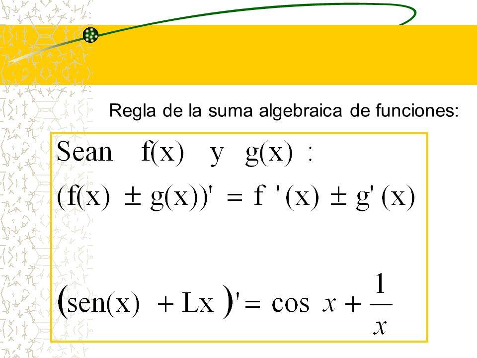 Regla del múltiplo constante K,de la forma: g(x) = K. f(x)