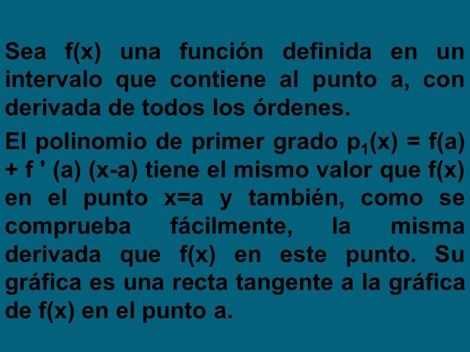 Sea f(x) una función definida en un intervalo que contiene al punto a, con derivada de todos los órdenes. El polinomio de primer grado p 1 (x) = f(a)