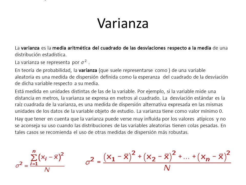 Varianza a varianza se representa por.