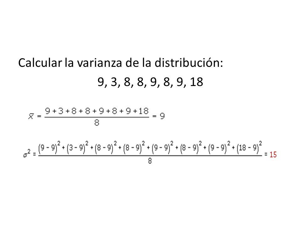 Calcular la varianza de la distribución: 9, 3, 8, 8, 9, 8, 9, 18