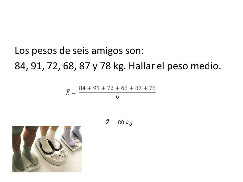 Los pesos de seis amigos son: 84, 91, 72, 68, 87 y 78 kg. Hallar el peso medio.