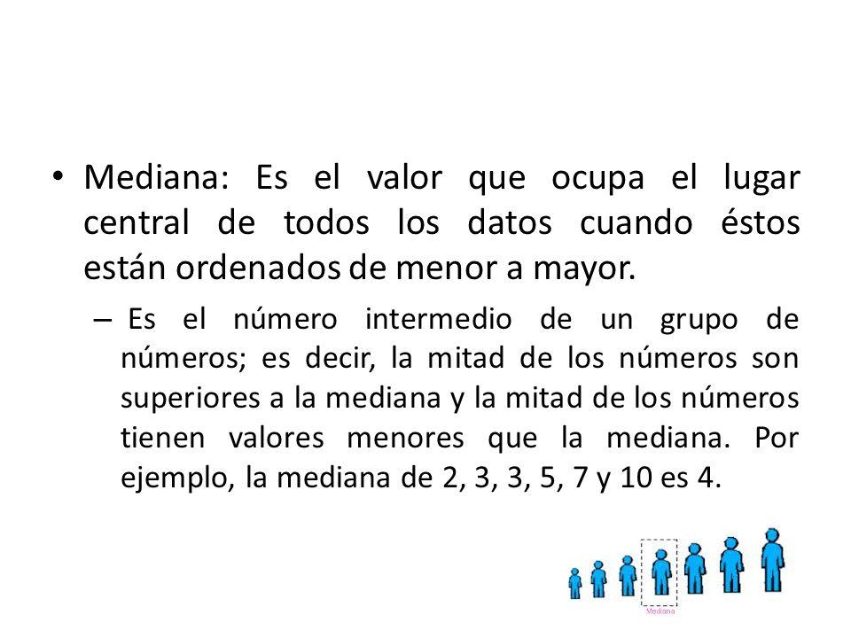 Mediana: Es el valor que ocupa el lugar central de todos los datos cuando éstos están ordenados de menor a mayor. – Es el número intermedio de un grup