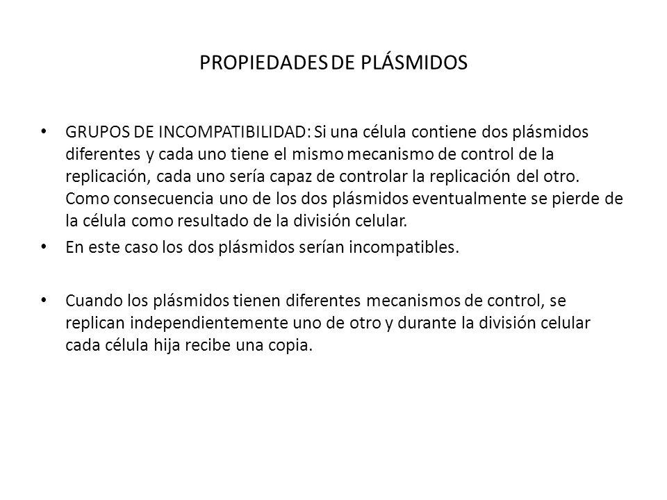 PROPIEDADES DE PLÁSMIDOS GRUPOS DE INCOMPATIBILIDAD: Si una célula contiene dos plásmidos diferentes y cada uno tiene el mismo mecanismo de control de