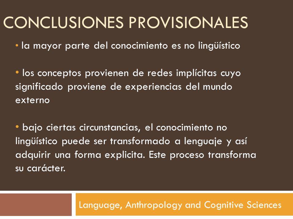 CONCLUSIONES PROVISIONALES Language, Anthropology and Cognitive Sciences la mayor parte del conocimiento es no lingüístico los conceptos provienen de