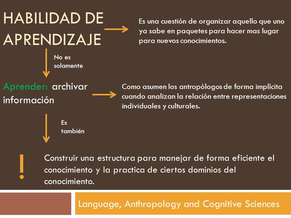 HABILIDAD DE APRENDIZAJE Language, Anthropology and Cognitive Sciences Es una cuestión de organizar aquello que uno ya sabe en paquetes para hacer mas