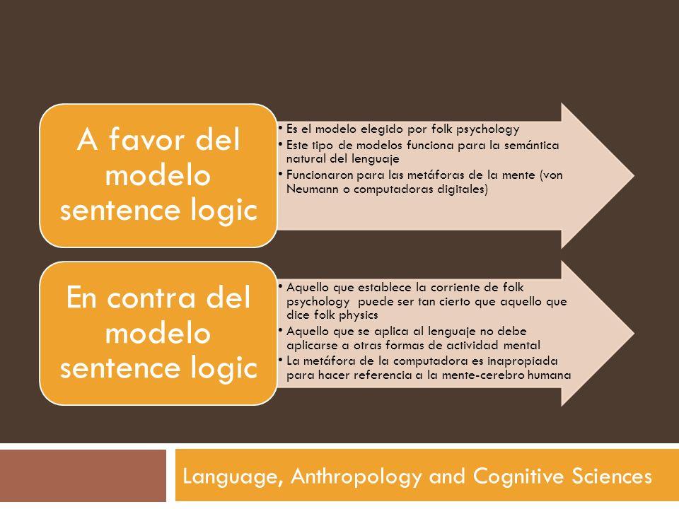 Language, Anthropology and Cognitive Sciences Es el modelo elegido por folk psychology Este tipo de modelos funciona para la semántica natural del len