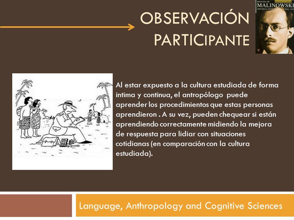 OBSERVACIÓN PARTIC IPANTE Language, Anthropology and Cognitive Sciences Al estar expuesto a la cultura estudiada de forma intima y continua, el antrop