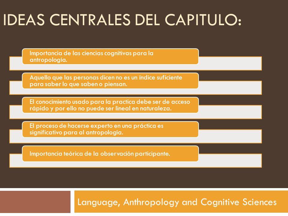 IDEAS CENTRALES DEL CAPITULO: Language, Anthropology and Cognitive Sciences Importancia de las ciencias cognitivas para la antropología. Aquello que l