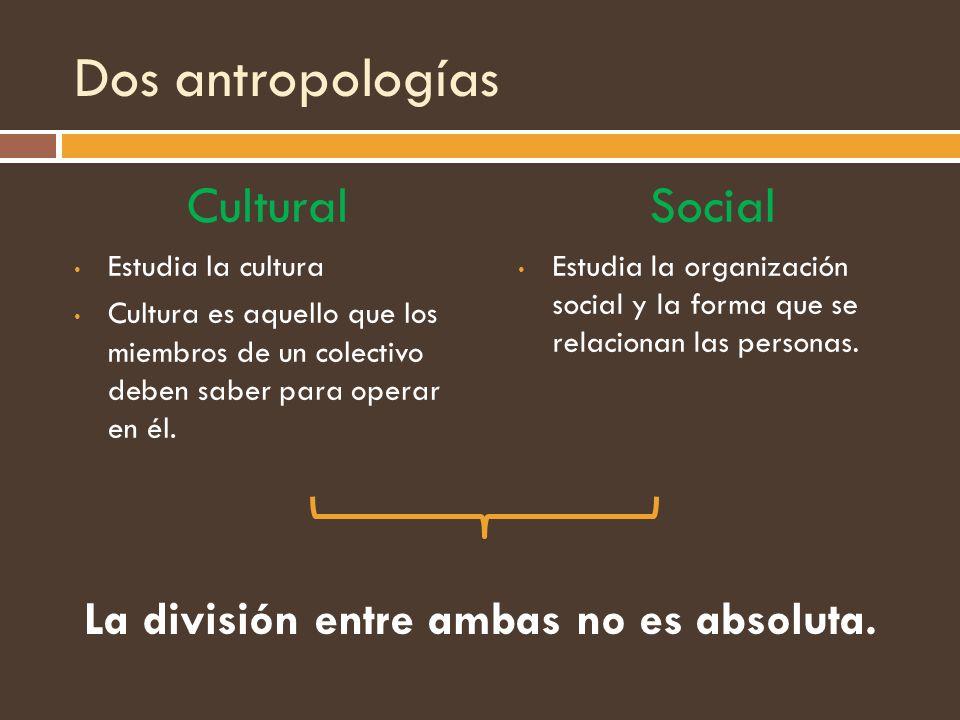 Dos antropologías Cultural Estudia la cultura Cultura es aquello que los miembros de un colectivo deben saber para operar en él. Social Estudia la org