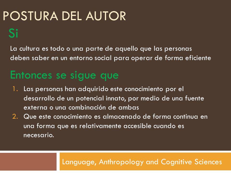 POSTURA DEL AUTOR Language, Anthropology and Cognitive Sciences Si La cultura es todo o una parte de aquello que las personas deben saber en un entorn