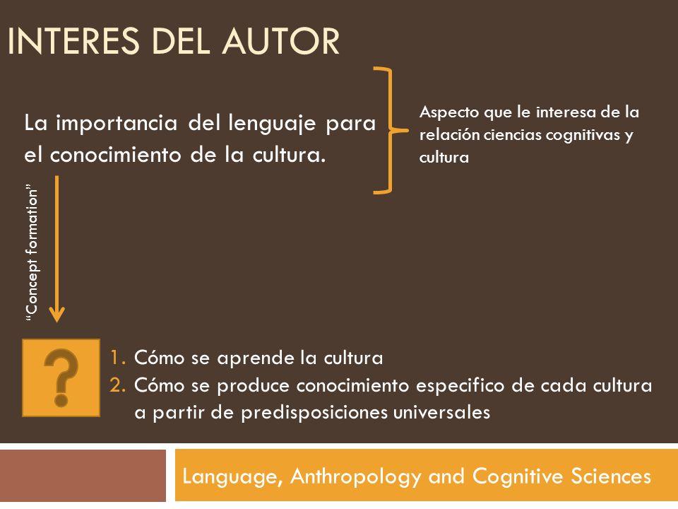 INTERES DEL AUTOR Language, Anthropology and Cognitive Sciences La importancia del lenguaje para el conocimiento de la cultura. Aspecto que le interes