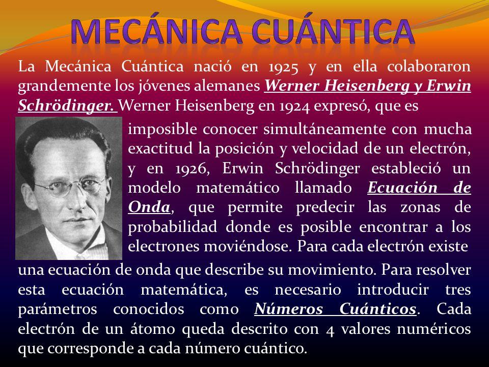 La Mecánica Cuántica nació en 1925 y en ella colaboraron grandemente los jóvenes alemanes Werner Heisenberg y Erwin Schrödinger. Werner Heisenberg en