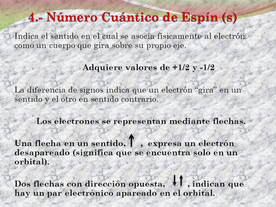 Indica el sentido en el cual se asocia físicamente al electrón como un cuerpo que gira sobre su propio eje. Adquiere valores de +1/2 y -1/2 La diferen