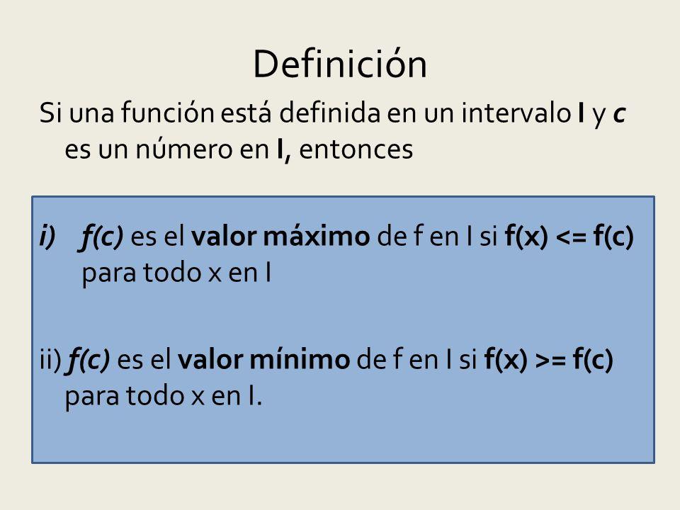 Definición Si una función está definida en un intervalo I y c es un número en I, entonces i)f(c) es el valor máximo de f en I si f(x) <= f(c) para todo x en I ii) f(c) es el valor mínimo de f en I si f(x) >= f(c) para todo x en I.