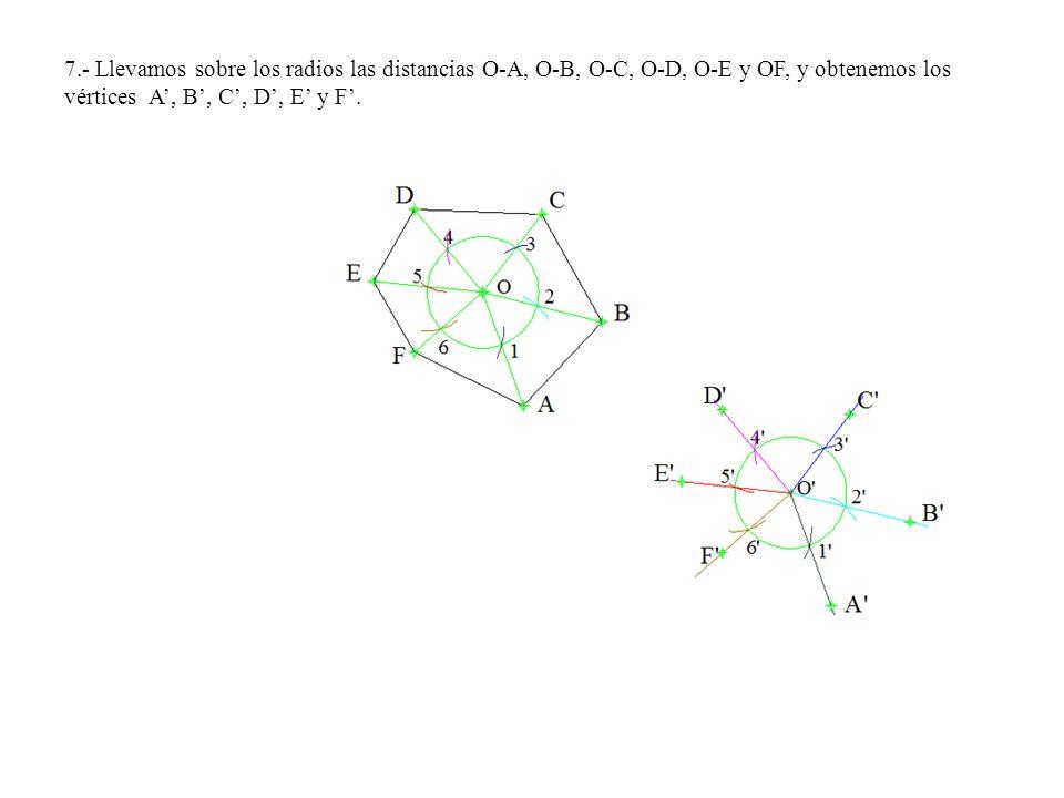 7.- Llevamos sobre los radios las distancias O-A, O-B, O-C, O-D, O-E y OF, y obtenemos los vértices A, B, C, D, E y F.