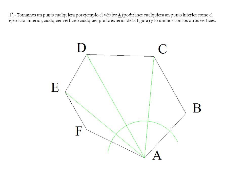 1º.- Tomamos un punto cualquiera por ejemplo el vértice A (podría ser cualquiera un punto interior como el ejercicio anterior, cualquier vértice o cua