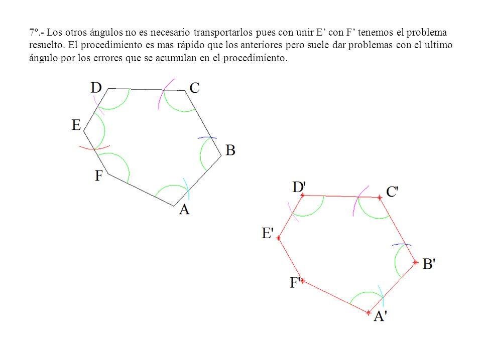 7º.- Los otros ángulos no es necesario transportarlos pues con unir E con F tenemos el problema resuelto. El procedimiento es mas rápido que los anter