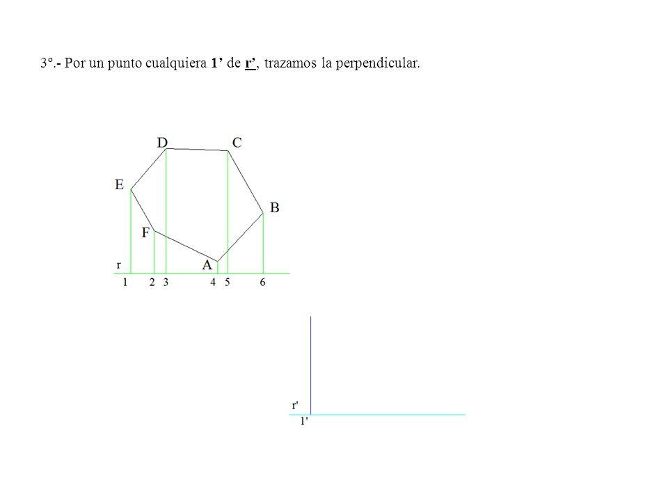 3º.- Por un punto cualquiera 1 de r, trazamos la perpendicular.