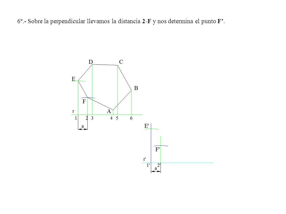 6º.- Sobre la perpendicular llevamos la distancia 2-F y nos determina el punto F.