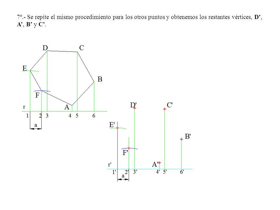 7º.- Se repite el mismo procedimiento para los otros puntos y obtenemos los restantes vértices, D, A, B y C.