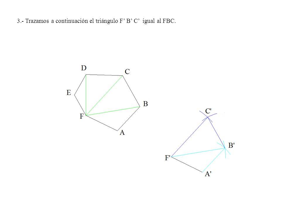 1º.- Con centro en el punto O y radio O-A trazamos un arco de circunferencia de 60º de amplitud para obtener el punto A.