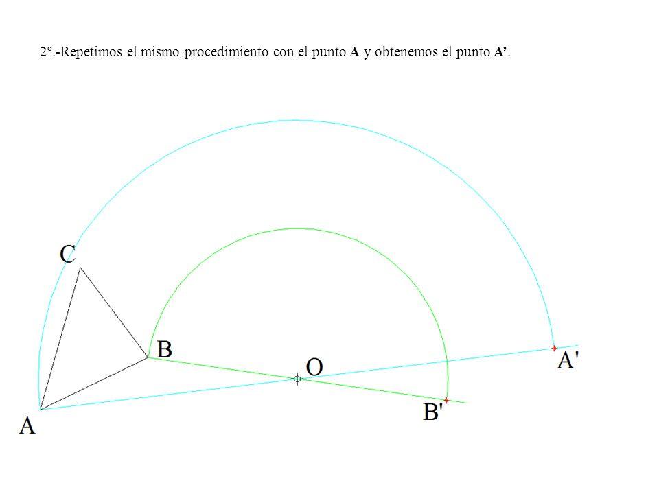 2º.-Repetimos el mismo procedimiento con el punto A y obtenemos el punto A.