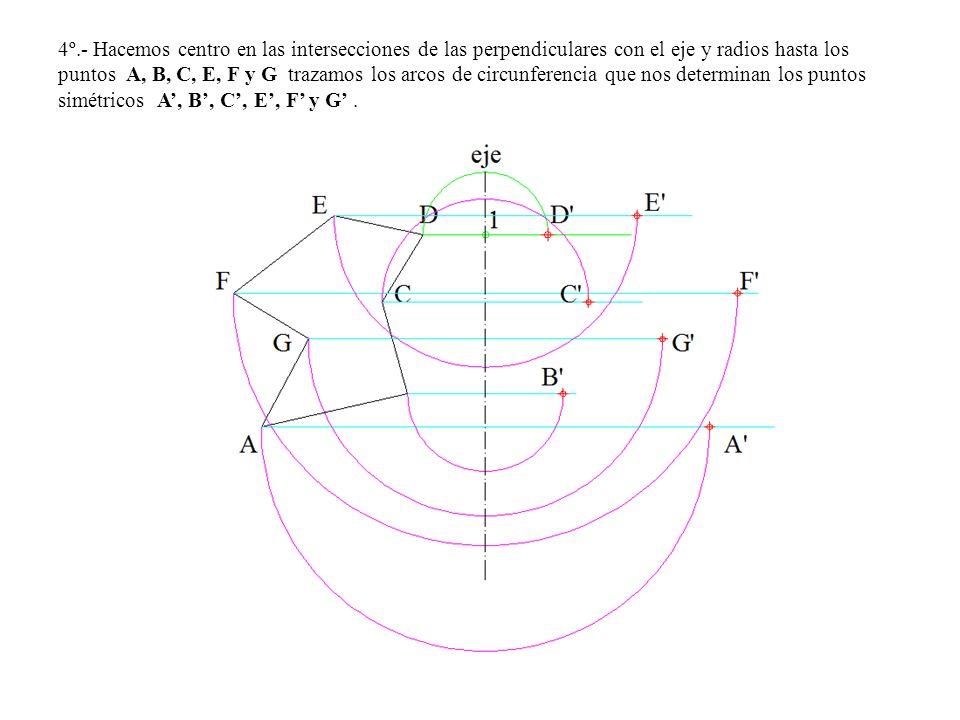 4º.- Hacemos centro en las intersecciones de las perpendiculares con el eje y radios hasta los puntos A, B, C, E, F y G trazamos los arcos de circunfe