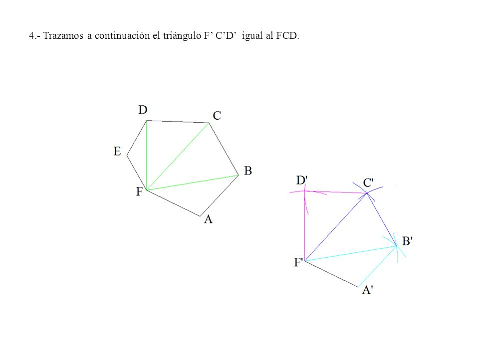 4º.- Hacemos centro en las intersecciones de las perpendiculares con el eje y radios hasta los puntos A, B, C, E, F y G trazamos los arcos de circunferencia que nos determinan los puntos simétricos A, B, C, E, F y G.