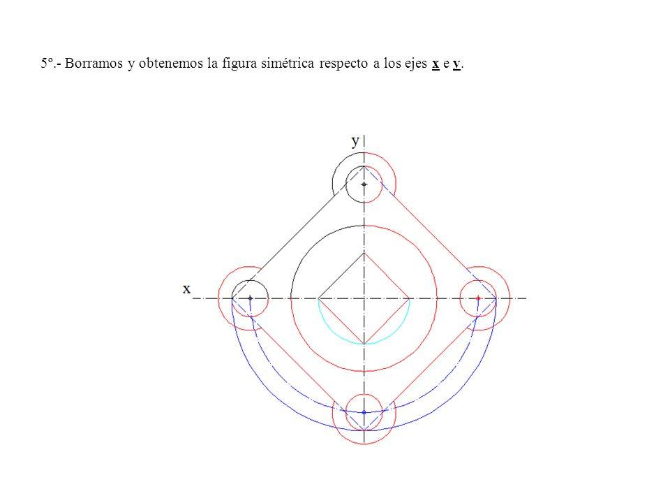 5º.- Borramos y obtenemos la figura simétrica respecto a los ejes x e y.