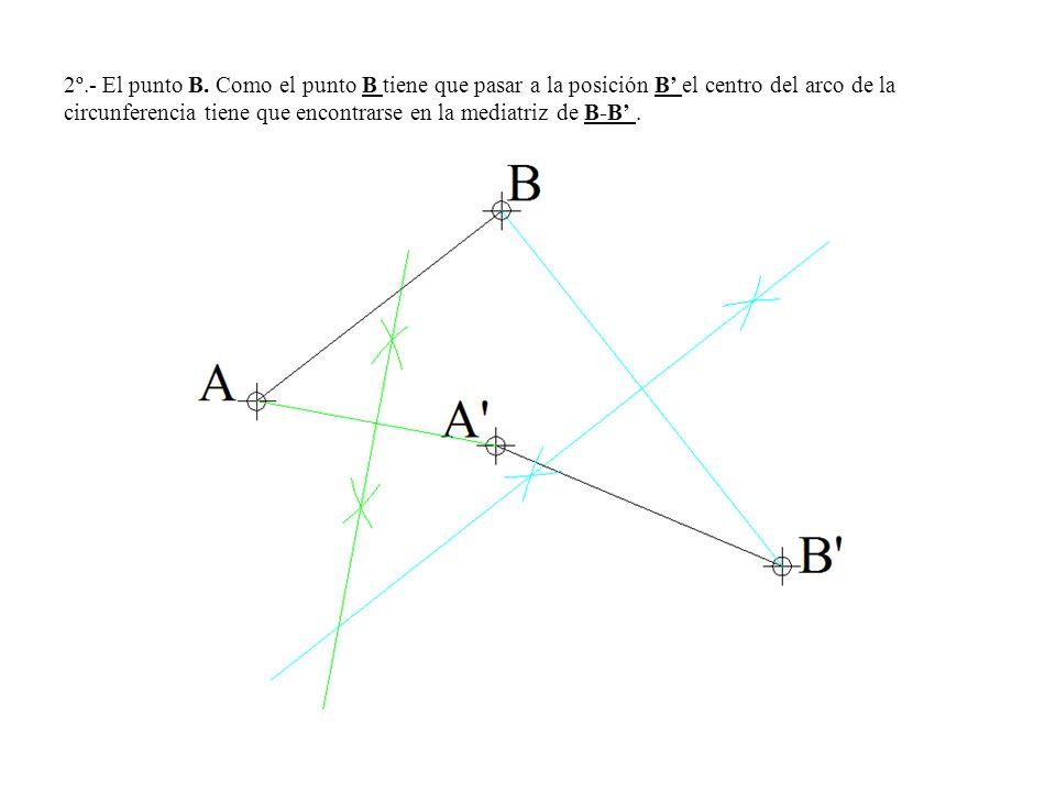 2º.- El punto B. Como el punto B tiene que pasar a la posición B el centro del arco de la circunferencia tiene que encontrarse en la mediatriz de B-B.